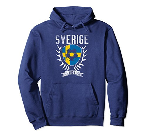 Unisex Swedish Football 2018 Hoodie Sverige Sweden Soccer Jersey XL: (Twill Football Jersey)