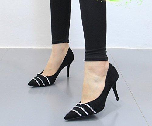 Olici MDRW-Lady Elegant Feder Arbeit Freizeit Feder Elegant Feine Ferse 8 5 cm Heels Scharfe Frauen Schuhe Mode Single Schuhe Temperament Eleganz Schwarz a786d0