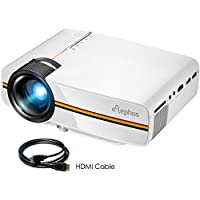 ELEPHAS High Brightness LED Movie Projector, Support 1080P 150'' Portable Mini Projector Ideal for Home Theater Cinema Video Entertainment Games Party, White