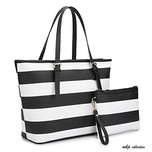 MKP Collection Large Classic Striped Tote with Free Matching Accessory Bag~Designer Handbag~Useful purse~Beautiful Satchel (7326) Black/White ()