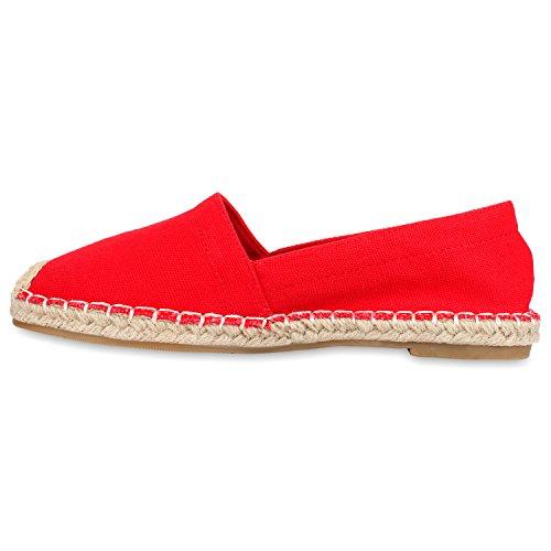 Stiefelparadies Bequeme Damen Bast Slipper Espadrilles Leder-Optik Nieten Fransen Flats Strass Sommerschuhe Spitze Camouflage Animalprint Flandell Rot
