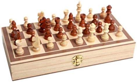 WLD Internationale Schaken, opvouwbare puzzel houten kleine schaakset, houten opvouwbare magnetische beginner schaken (bruin + beige, 20 * 15 * 5Cm) handig