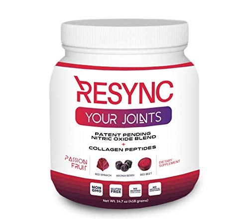 RESYNC Collagen Blend - Natural Nitric Oxide + Collagen Peptides Formula for Your Energy, Joints, Skin, Connective Tissue, Hair, Nails Featuring Unrivaled Ingredients: Red Spinach, Beets, Aronia, Hy
