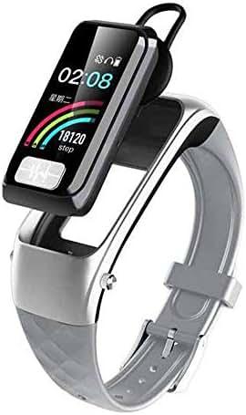 BABY-WZL Men Smart Bracelet Bluetooth Headset 2 in 1 ECG + PGG Heart Rate Oxygen Blood Blood Pressure Reminder Call Function Watch,Silver