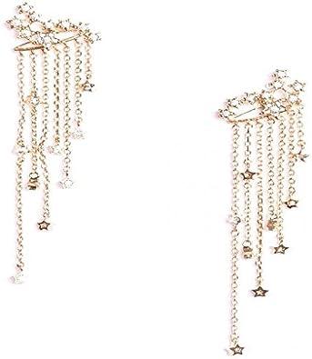 Filles géométrique étoile en bois rétro asymétrique Dangle Boucles d/'oreilles métal clous d/'oreilles