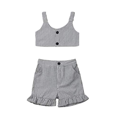 (Toddler Baby Girl Striped Summer Outfit,Strap Buttons Vest Crop Top+Ruffled Shorts Pants with Side Pockets (Striped, 1-2T))