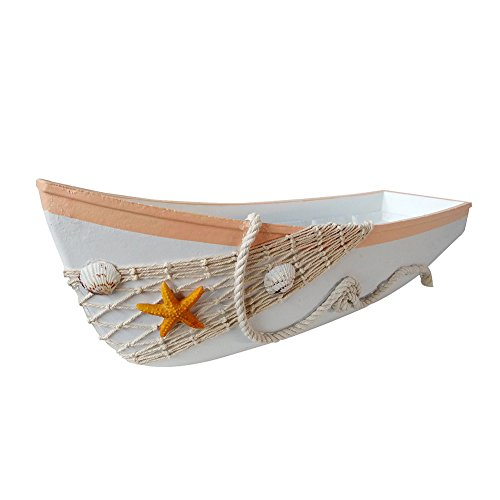 Waroom Home Beach Theme Display Boat Tray with Star Fish Sea Shell and Fish Net, 17