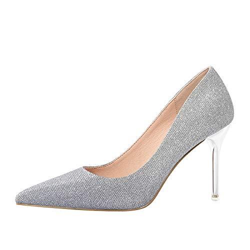 Mujer Otoño Lentejuelas Salvaje Gradiente Altos Tacones Señalada Mujer alto Aguja Primavera Silver Yukun Y 39 Mujer tacón Plata de zapatos zq7107