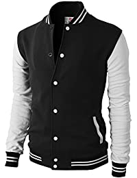 33c5b309a5d Mens Casual Slim Fit Varsity Baseball Jackets Bomber Cotton Lightweight  Coats