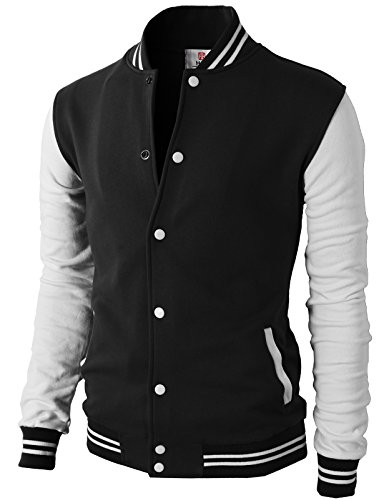 H2H Mens Slim Fit Varsity Baseball Bomber Cotton Lightweight Premium Jacket  Cmoja083-black Medium