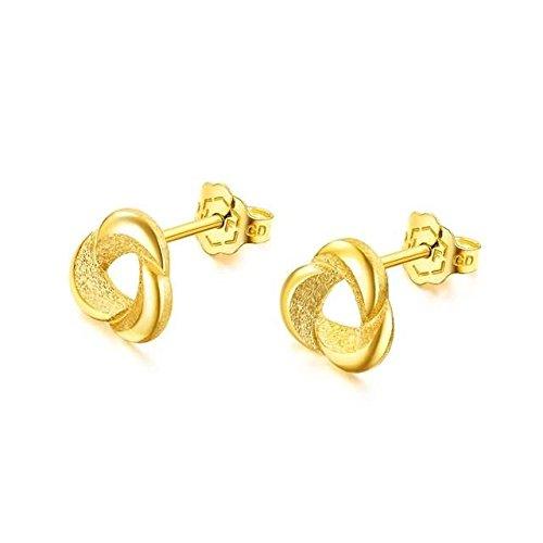 Beydodo 2.68g 24K Yellow Gold 999 Stud Earrings for Womens Frosted Flowers Earrings Stud for Wedding