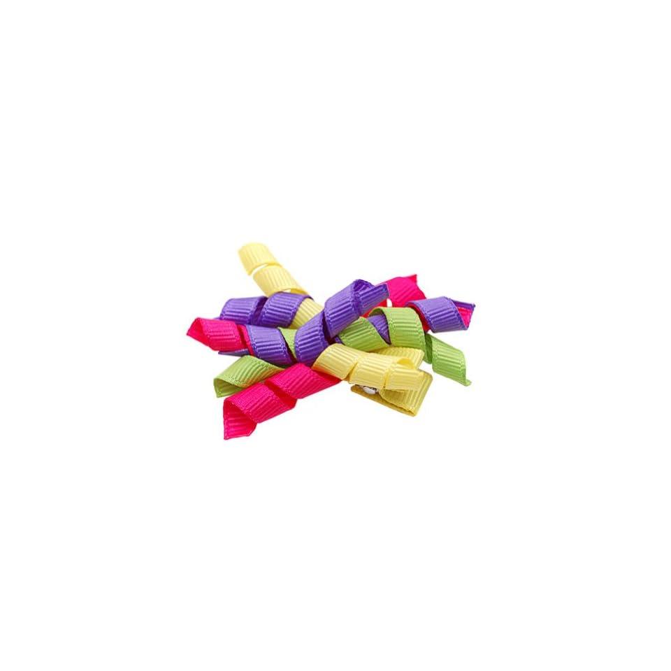 Multi Colored Small Corker Ribbon Girls Hair Clippie