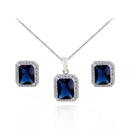 Set with Blue Simulated Sapphire Zirconia Crystals Pendant Necklace 18