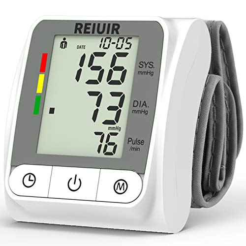 COLEBY Wrist Blood Pressure Monitor BP Cuff Automatic Accurate Blood Pressure Machine Heart Pulse Rate Monitoring Meter 2×120 Sets Memory LCD Display Screen for Home Office Use White