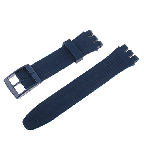Homyl Silicone Rubber Watch Straps Bands Waterproof for Swatch Replacement Finding Components - Gray Blue (Gray Swatches)