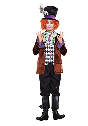 Dreamgirl Men's Hatter Madness Costume, Multi, (Mad Hatter Male Costume)