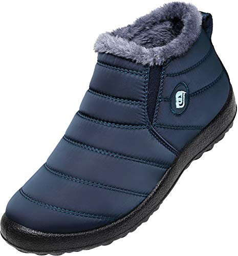 JOINFREE Womens Ankle Snow Booties Couple Winter Waterproof Shoes Fur Lined Navy Blue 7.5 B(M) US by JOINFREE