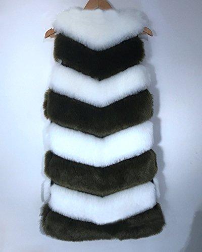 Manches Pour Femme Parka Gilet Arme Blouson Fourrure En Vert Sans Long Manteau Fausse xUfzF