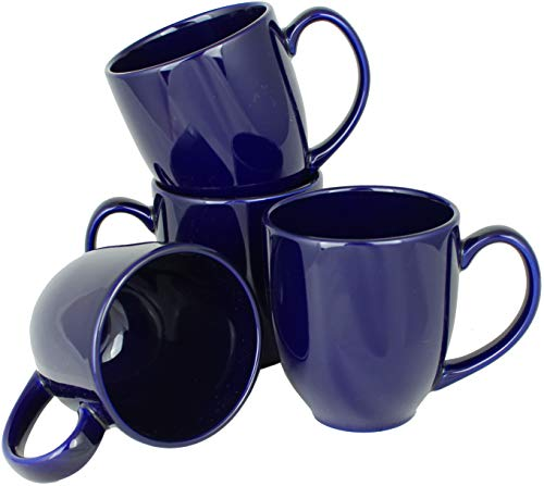 MinWill Brands Ceramic Bistro Coffee Mugs with Pan Scraper, 14 Ounce (Dark Cobalt Blue, 4-Pack)