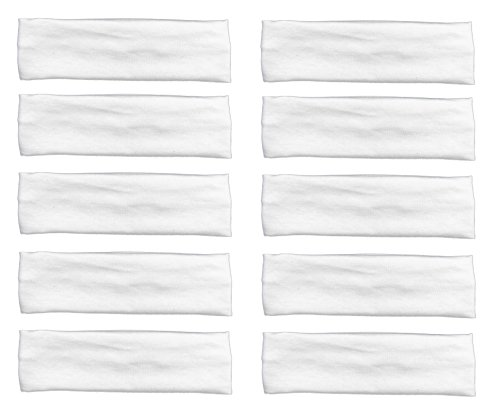 Styla Hair Yoga Headbands (10 Pack, White) Soft Stretchy Elastic Cotton Multi-Function Sports Hair Band (Softball White Cotton)