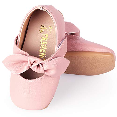 (UniBaby7 Baby Girl Shoes Soft Sole Pink Walking Shoes with Flowers Infant Prewalker Mary Jane Flat Dress Crib Shoes for 4 4.5 5 5.5 6 6.5 M Toddler Girls (Size 17/ up to 4.72