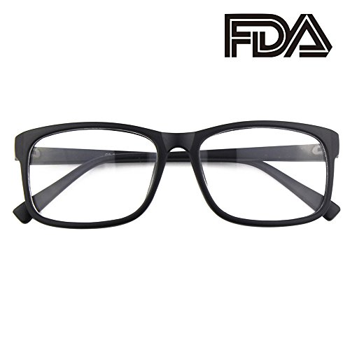 Happy Store CN12 Casual Fashion Basic Square Frame Clear Lens Eye Glasses,Matte Black -