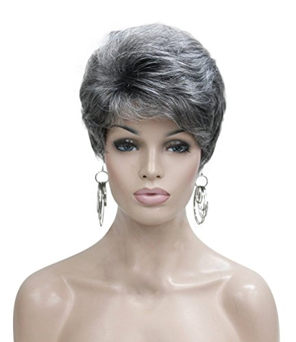 Kalyss Women's Short Curly Heat Resistant Synthetic Gray Wigs For -