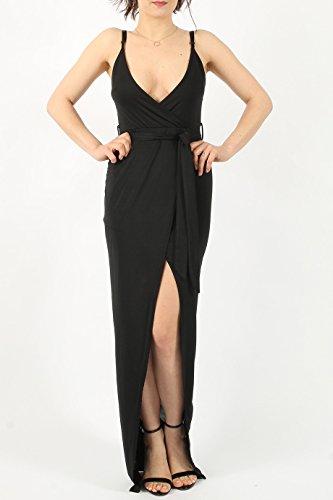 Damen Slinky Wrap Tie Maxi Kleid EUR Größe 3642 Schwarz uNXON ...
