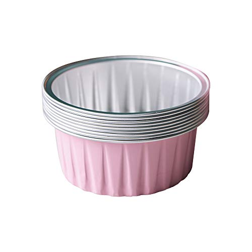 Bakerdream 125ml Aluminum Foil Cake Cups Muffin Cupcake Ramekin Cup Reusable Baking Cups for Cream Brule Tart Mold Dessert Pans Pack of 30 (Pink)