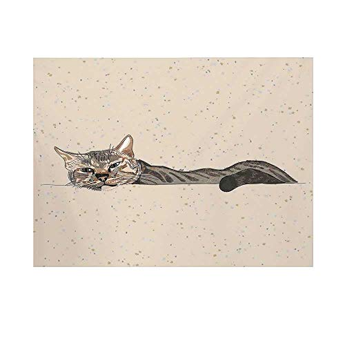 Cat Photography Background,Lazy Sleepy Cat Figure in Earth Tones Cute Furry Mascot Indoor Pet Art Illustration Backdrop for Studio,10x8ft