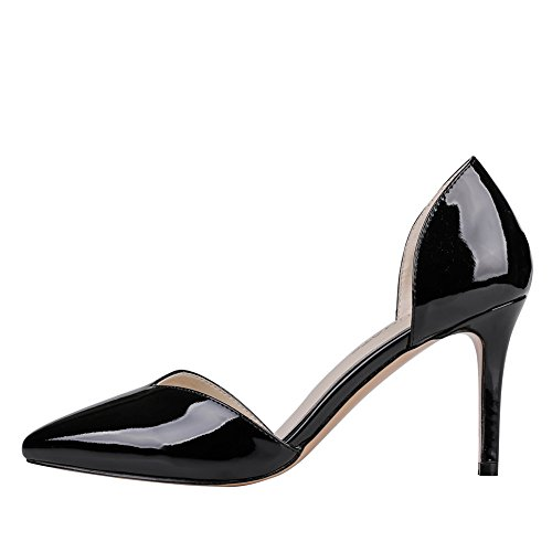 Y Pump Heels 05043 Women's 15 Patent Dress Classic Side Toe Black Middle US MERUMOTE 5 Pointed 5 5vR0wWwq