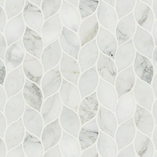 (Calacatta Blanco Pattern Polished Marble Mosaic Tile)