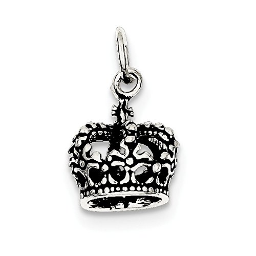 925 Sterling Silver Antiqued Crown Charm (15 x 12)