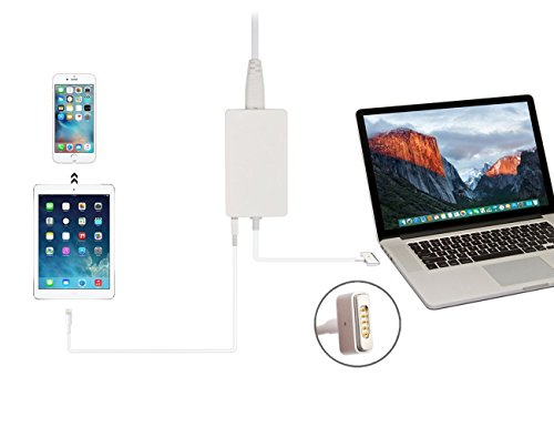FIBAtec | 60W Slim Ersatz Ladegerät | Netzteil Apple Mag Safe 2, Mac Book Charger Magnetisch | ersetzt A1436 A1465 A1466 | passende Modelle z.B. MD223 MD224 MD231 MD232 MD592 MD711 MD712 MD760 | Inklusive USB 5V 1A Anschluss zum gleichzeitigen Laden