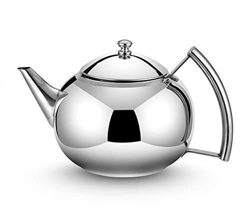 - OMGard Teapot with Infuser Loose Tea Leaf 2 Liter Stainless Steel Tea Pot Coffee Water Small Kettle Filter Set Warmer Teakettle for Stovetop Induction Stove Top 2.1 Quart / 68 Ounce