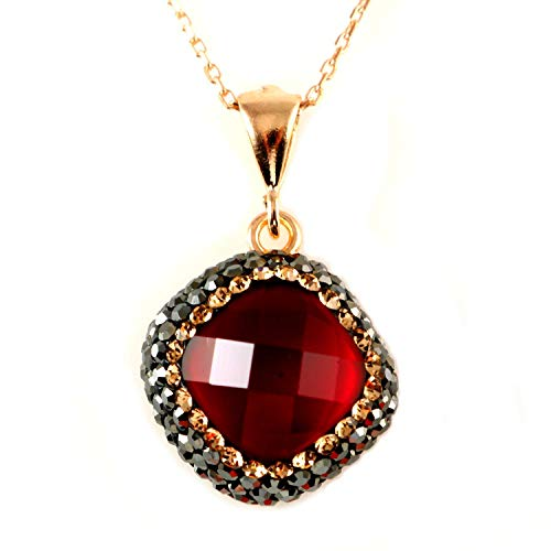 (Rose Gold Sterling Silver Tiny Red Crystal Rhombus Pendant Necklace 16+2'' Chain)