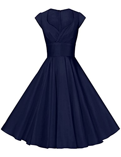 GownTown Womens Dresses Party Dresses 1950s Vintage Dresses Swing Stretchy Dresses Darkblue Small