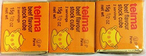 Telma Beef Flavor Stock Cube Kosher For Passover 1.5 oz. Pack of 3. Kosher Stock