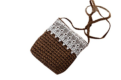 Bag Handmade Knitted Straw Handbag Lace Messenger deep Cute brown Body Shoulder Cross Boho px6vWEwn