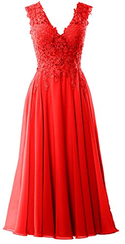 Party Red Lace Gown Women Formal V Macloth Neck Prom Midi Dress Wedding Length Tea XOnvxw
