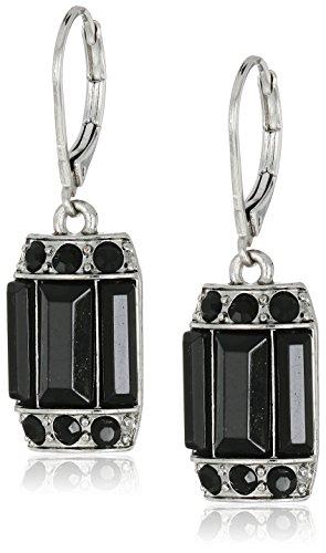 1928 Jewelry Silver-Tone Black Octagon Drop Earrings