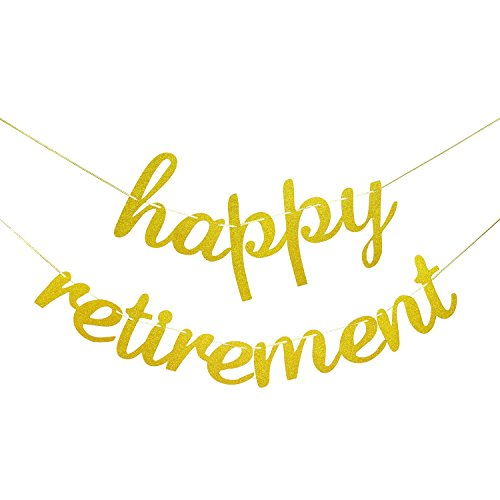 Happy Retirement Decorations - Happy Retirement Banner Sign Gold Glitter - Gold Retirement Party (Happy Retirement Sign)