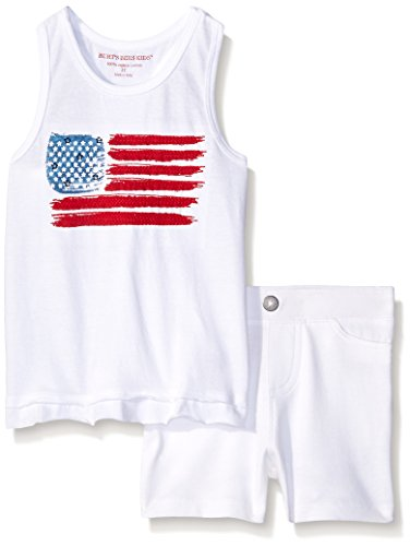Burt's Bees  Little Girls' Organic USA Flag Tank and Knit Raw Edge Short Set, Cloud, 6