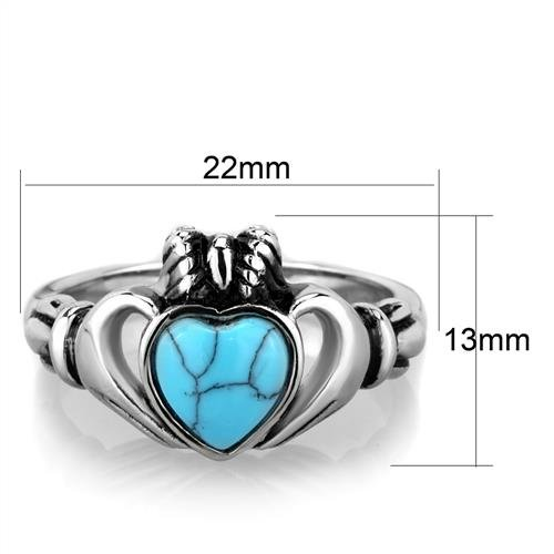 Classic Stainless Steel Turquoise Claddagh Irish Celtic Crown Heart Ring Sizes 5,6,7,8,9 /& 10