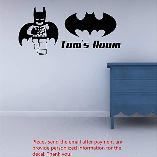 Hueoi Wall Decal Removable Quote Decor Design Decal Custom Personalized Name Name Superhero Batman Children's Decal for