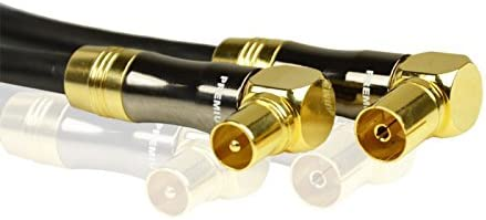 1m Cable de antena de TV PremiumX Gold-Line negro 135dB REINES cobre 1x TV 90 /° toma hembra 1x TV 90 /° enchufe macho