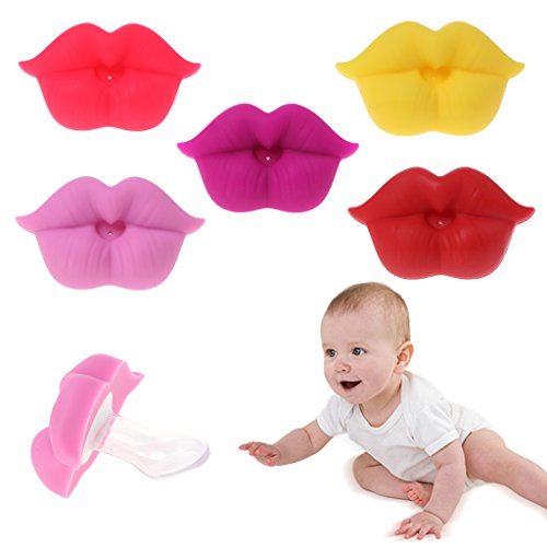 loweyuiroy Baby Soother, Baby Soother Silicone Pacifier Funny Lips Nipple Orthodontic for Infantsborn Red