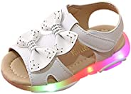 Baby Sandals Summer,Children Sneakers Led Luminous Shoes Girls Bowknot Light Sport Sneaker Soft Toddler Footwe