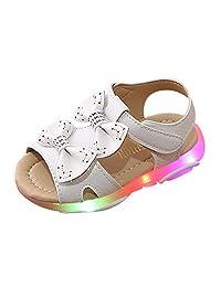 Baby Sandals Summer,Children Sneakers Led Luminous Shoes Girls Bowknot Light Sport Sneaker Soft Toddler Footwear