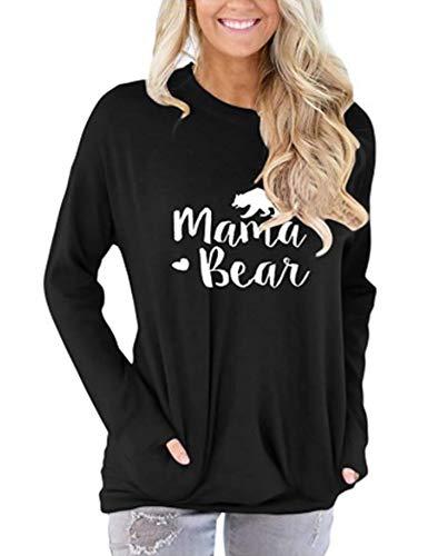 barnkas Women Mama Bear Shirt Loose Casual Tops T-Shirts Crew Neck Batwing Sleeve Sweatshirt Patches Blouse Black ()